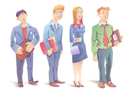 De mensen uit het bedrijfsleven - drie mannen en de vrouw.