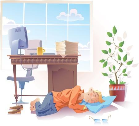 De jonge man is lief te slapen op kantoor.