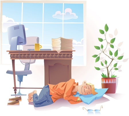 snooze: The young man is sleeping sweet at the office. Illustration