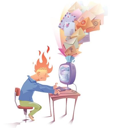El hombre está trabajando en la computadora. Hola se ve un poco nervioso porque reciben una gran cantidad de mensajes de spam ...