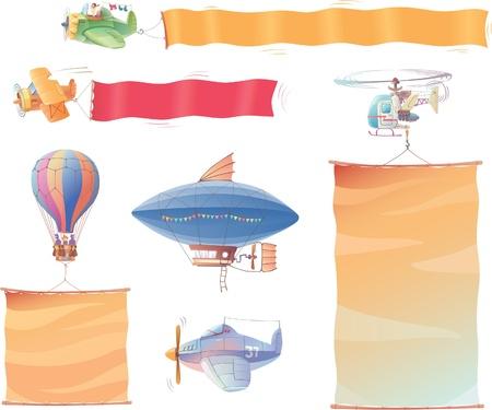 Air voertuigen met banners Stock Illustratie