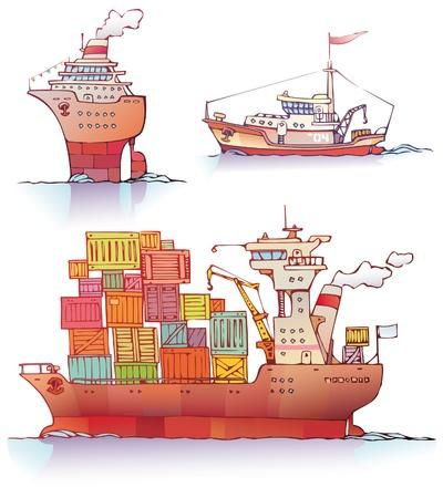 containerschip: Er zijn drie type van een schepen van de oceaanstomer, de sleepboot en de Bulker