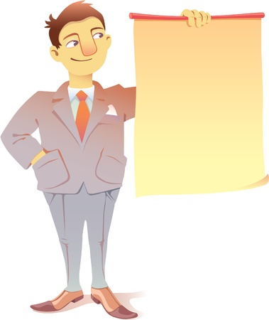 Smiling businessman is looking at the blank placard  There is a good place for a text or a graphs  Stock Vector - 12482893
