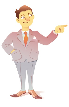 happy business man: The businessman is pointing the finger at something out of field of view