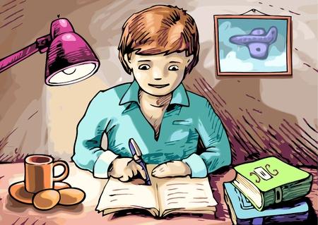 De jongen schrijft iets in zijn leerboek