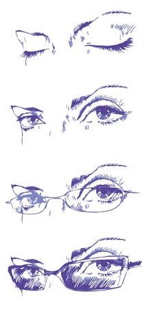 The various combinations of the eyes and the glasses  Vector