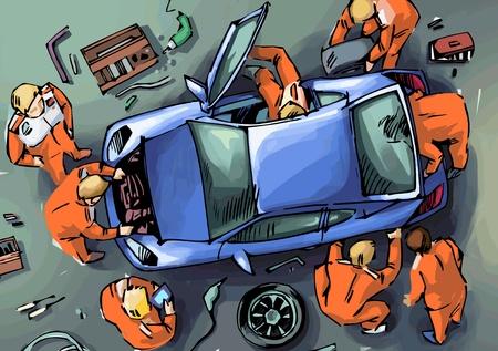 motor race: De monteurs zijn het herstel van de blauwe sport auto Stock Illustratie