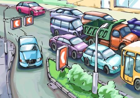 chauffeurs: La voiture bleue est faire une tourn�e d�tour les voitures coinc�es dans les embouteillages Illustration