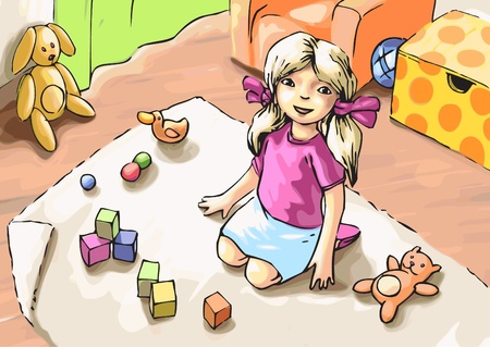 The little girl is playing with toys  Vector