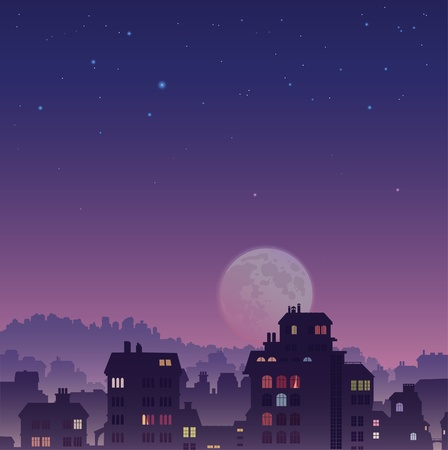 The perspective view of the big old city by night Illustration