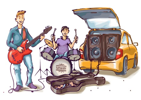 bass drum: Two street musicians are playing their music  Illustration