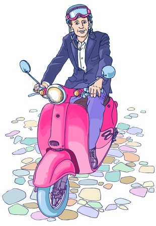 trendy male: Businessman on the scooter Illustration