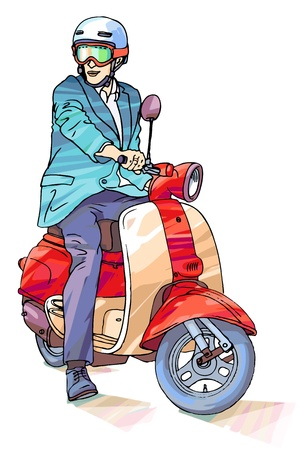 executive helmet: Businessman on the scooter Illustration