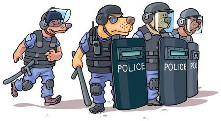 The cartoon dogs in the police uniform are standing behind the shields  Illustration