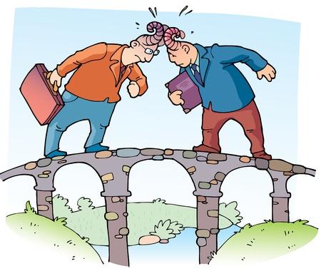 Twee zakenman zijn aanliggende, elkaar met de horens op de smalle brug Stock Illustratie