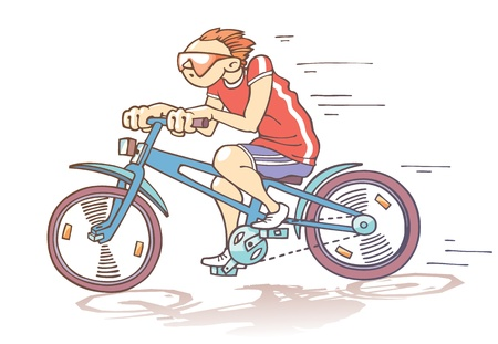 training wheels: The cartoon bicyclist is riding fast Illustration
