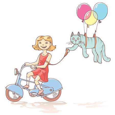 Cycling girl with the cat  Vector