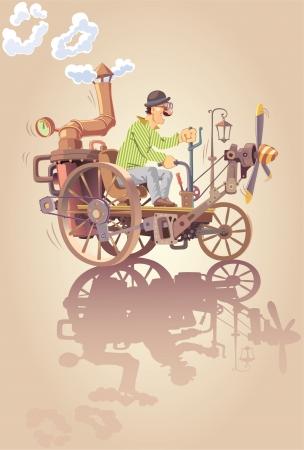 De gelukkige uitvinder rijdt zijn eigen oldschool stoom auto met een propeller.