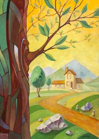 El paisaje rural con el tronco del árbol con una rama joven en un primer plano y el camino de la pequeña mansión lejos. Esta es mi obra de arte - la pintura al óleo 70x50 cm. Foto de archivo - 14367268