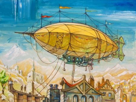 De olie schilderij met het luchtschip vliegen boven de oude stijl fantasie gebouwen Mijn kunstwerk, olieverf op doek, 60 x 80 cm Stockfoto