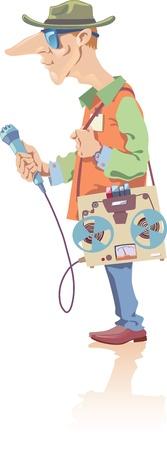 illustratie van de verslaggever met de retro-stijl bandrecorder en de microfoon in een hand.