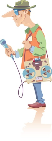 illustration of the reporter with the retro-style tape recorder and the microphone in a hand. Vector