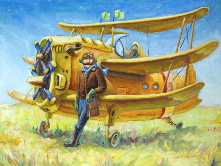 directly: The oil painting (80x60 cm) of the pilot and his fantastic two propeller retro airplane. The pilot looks directly at camera. Stock Photo