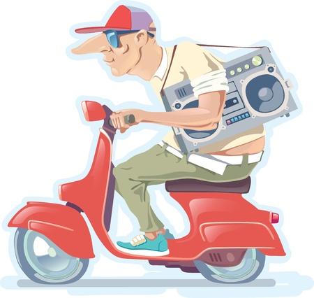De kale man in een hoed met de oude stijl boombox is het rijden van de rode scooter. Stock Illustratie