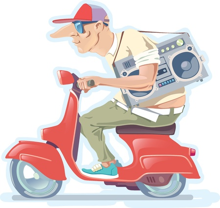 vespa: The bald-headed man in a hat with the old-style boombox is riding the red scooter.