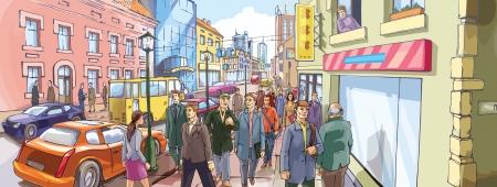 Die Menschen sind entlang der überfüllten Stadt Straße gehen Vektorgrafik
