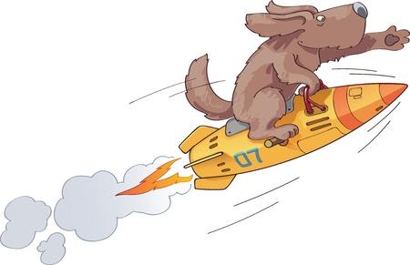 brandweer cartoon: De dappere eerste hond de astronaut vliegt op een snelle ruimte retro-stijl raket met een inspiratie