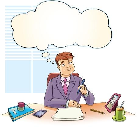 De zakenman met het denken luchtbel is dromen over de lege documenten op een tafel in het kantoor.