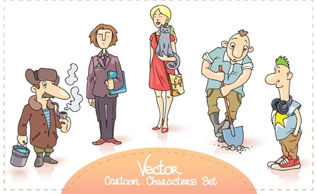 woman smoking: The cartoon characters set contains  the old man with the smoking pipe and the bucket with a water, the businessman with the paper folder, the young woman in a red dress with a cat, the worker digging a hole and the young man with the headphones