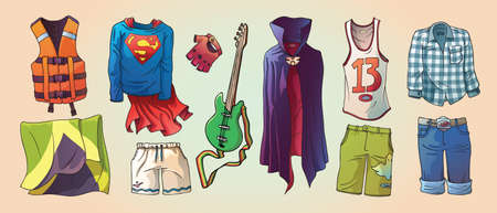 cartoon clothes: Here are the some original cartoon clothes, the life vest, Jamaican flag and the bass guitar Editable