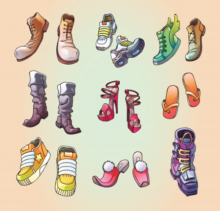 The set of the original, strange and casual  footwear  And even the one ski boot  Editable  Vector