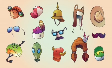 gas mask: The set of the unusual, party and casual headwear set  Editable
