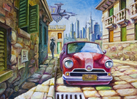 oil painting: The old red car is standing at the sunny street of the southern city near the old colonial style architecture buildings  The oil painting 70x50 cm