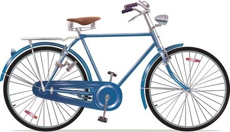 De oude blauwe klassieke fiets Stock Illustratie