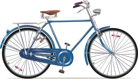 The old blue classic bicycle 向量圖像