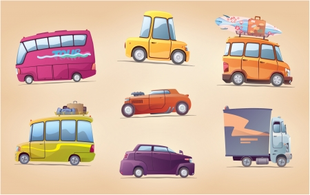 The set of the vector cartoon vehicles  There are a touring buses, the racing hot rod, the surfer