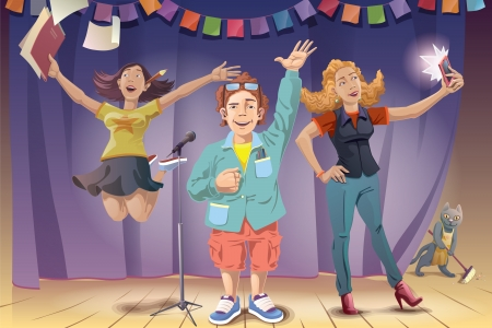 The young man and two women are standing on the stage and celebrating the award winning The people and the background are placed on a different layers of the vector EPS file v10 0  Enjoy  Vector