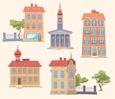 De set van de oude, maar klassieke vector gebouwen Er zijn de residentie gebouw, het appartement huizen, de kleine parken en het stadhuis Bewerkbare vector EPS v10 0 Uw stemmen worden gewaardeerd als altijd Enjoy