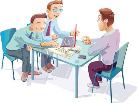 Three young managers are talking about something important in the office