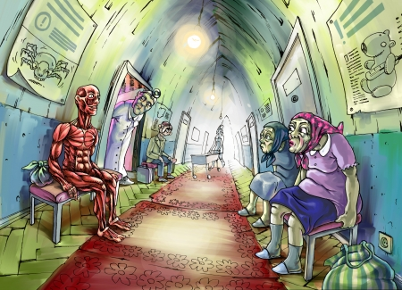 The illustration of the anatomical man sitting in a hospital corridor  All another patients and even the doctor are very wondered