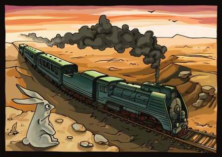 Wild rabbit looking at the moving train with a steam locomotive in a desert.