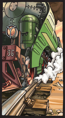 sleepers: The close-up vector illustration of the moving steam locomotive  Illustration