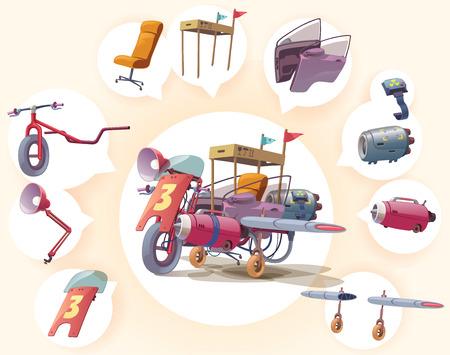 metallschrott: Seltsame und verrückte maßgeschneiderte Fahrzeug Es besteht aus verschiedenen Teilen unvereinbar, aber sieht gut aus Illustration