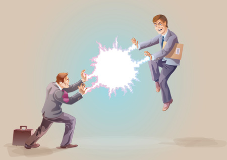 Two businessman are fighting using their super abilities   Illustration