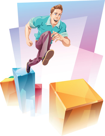 fast forward: The young man in a casual closes is jumping up to the next level over the gap Looks like quick way to success concept illustration  Illustration