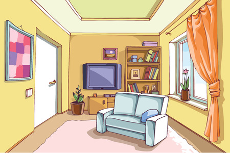 condominium: The light interior of a living room in a bright sunny day